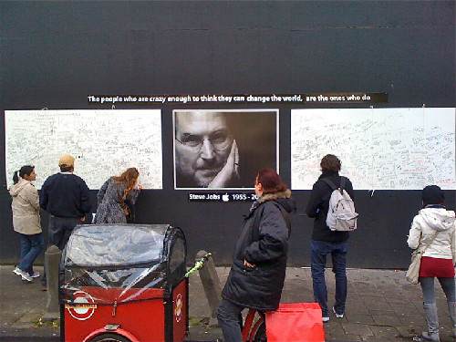 Front of the Amsterdam Apple Store,  the day we said goodbye to Steve Jobs.