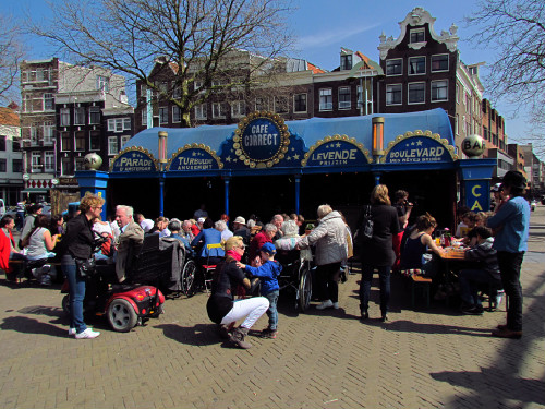 Annual funfair on Nieuwmarkt Square in Amsterdam for Queensday.