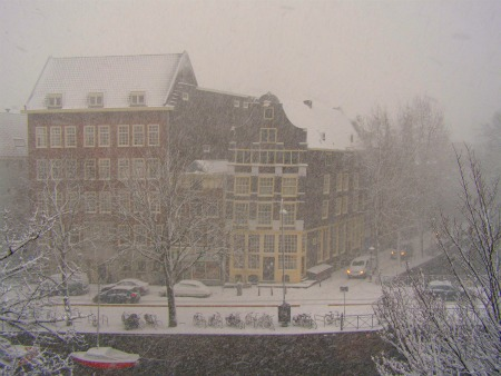 A white, snow covered Amsterdam